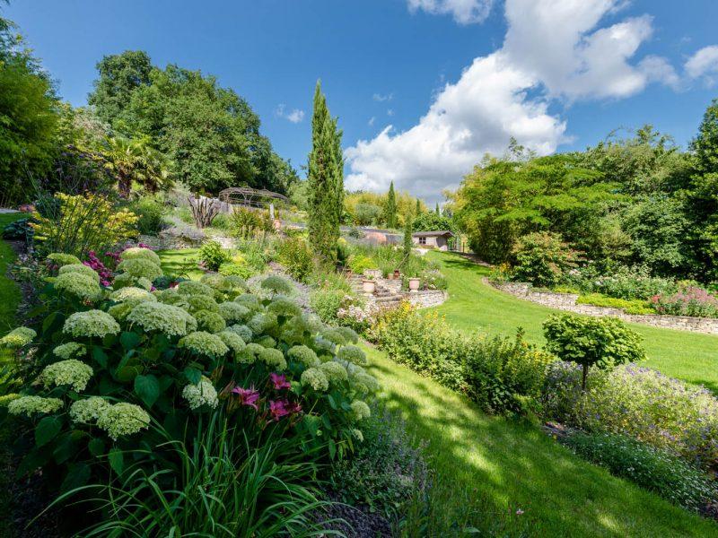 jardin avec massif arbustes et vivaces
