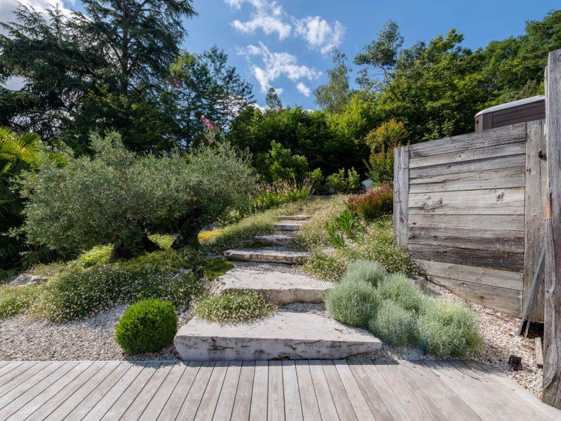 escalier paysagé en pierre naturelle et olivier