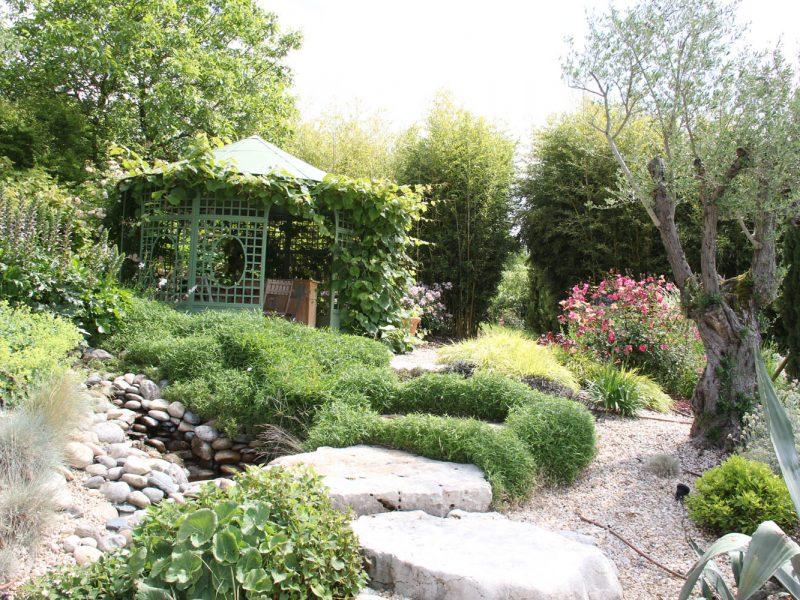 escalier paysagé menant à une gloriette recouverte de plante