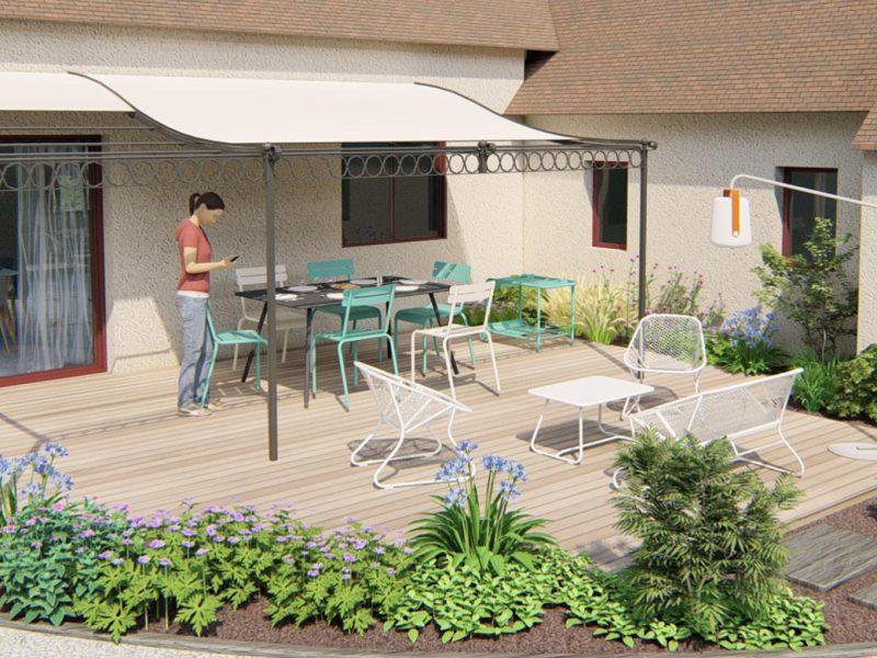montage 3D d'une terrasse paysagée avec massifs et pergola adossée